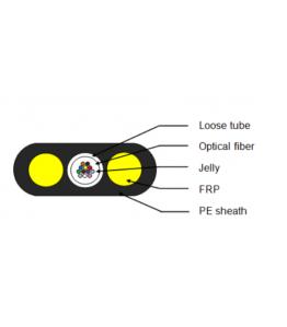 FTTH плосък 12 влакна, G652D, 2 FRP x 1.80, 2 km./drum