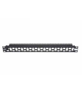 Пач панел BKT 19'' BKT , modular for 24xRJ45, shielded, 1U, black, shifted ports