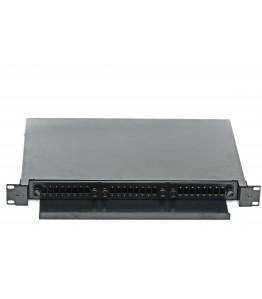 ODF 1U Rack style 19'' - SC SX конектори - 24 влакна с релса - 490мм/340мм/45мм